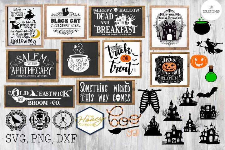 Big Halloween Bundle DXF SVG PNG Cutting File Decor 29 files