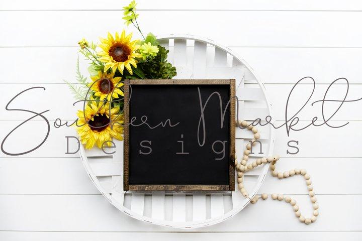 Sunflower Styled Summer Wood Framed 12x12 Sign Mock Up