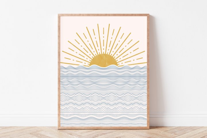 Sunset Wall Art, Boho Wall Art, Minimalist Wall Art