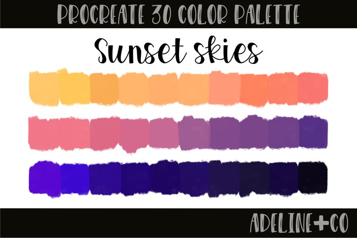 Sunset skies procreate color palette