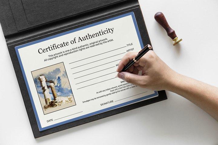 Mininimal Certificate of Authenticity PSD Template Vol.2
