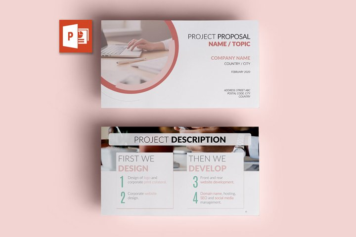 PPT Template | Project Proposal - Pink and Marble Round