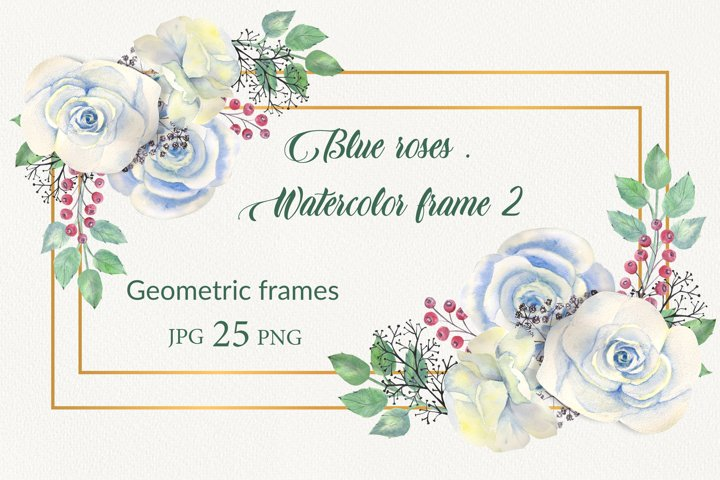 Geometric gold frames with blue flowers roses.