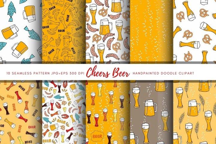 Beer Digital Paper pack. Oktoberfest seamless pattern