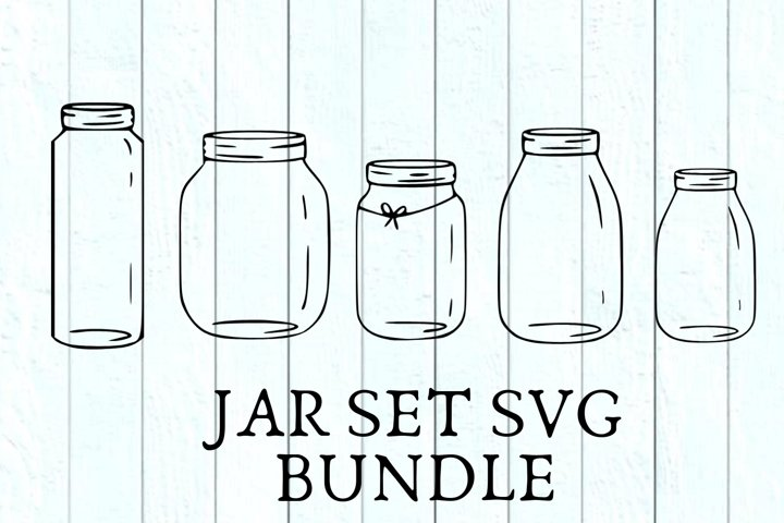 5 SVG Jar Set Bundle For Crafters