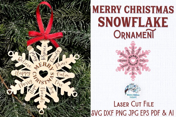 Merry Christmas Snowflake Ornament for Glowforge or Laser