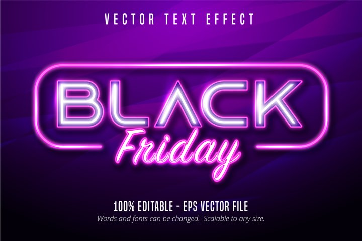 Black friday text, Neon lights signage style text effect