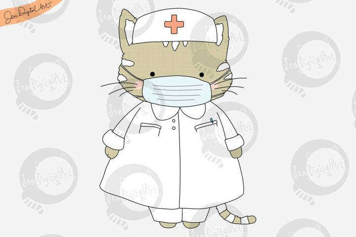 Cartoon Cat Nurse
