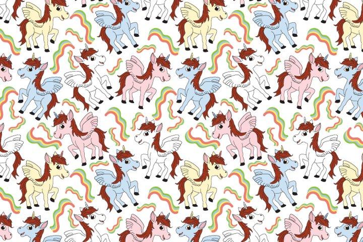 cute unicorn seamles pattern, copy space
