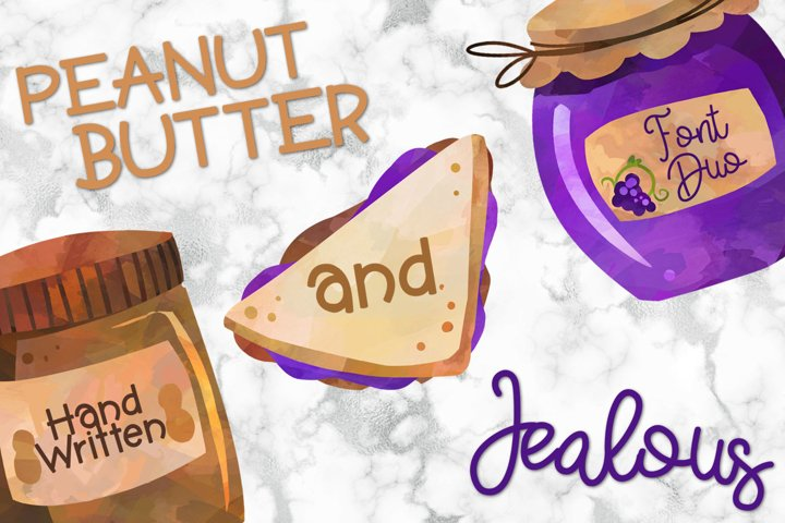 Peanut Butter And Jealous A Handwritten Font Duo