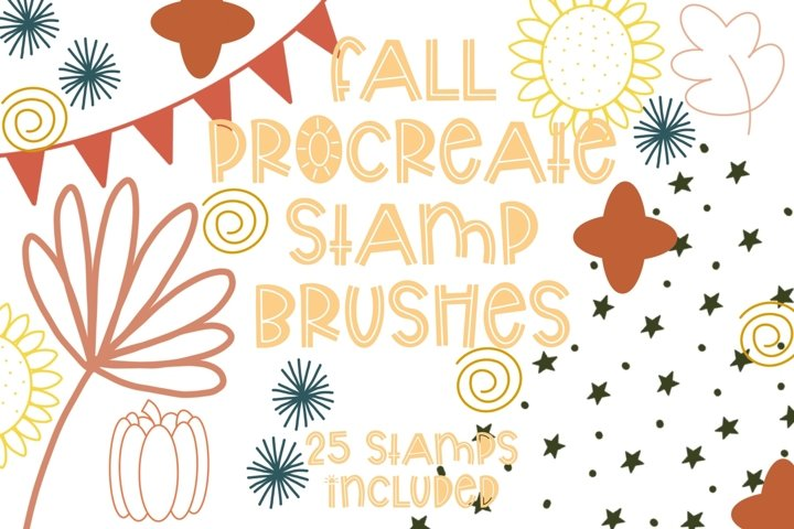 Fall Procreate Doodle Stamp Brush Set