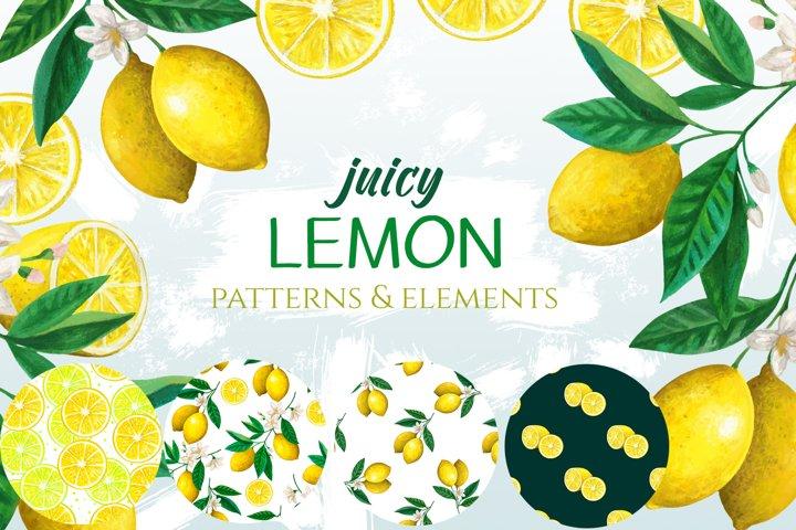 Juicy lemon elements and patterns