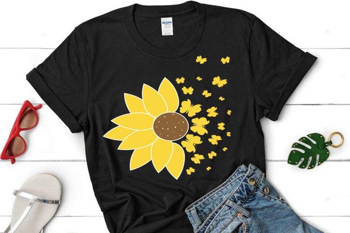 Sunflower Butterfly SVG, Sunflower clipart,
