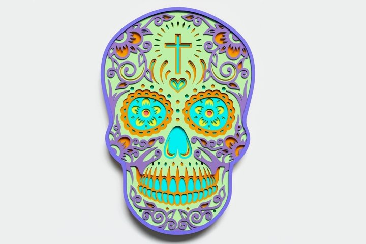 Multilayer Sugar Skull Mandala - S1, for cutting machines
