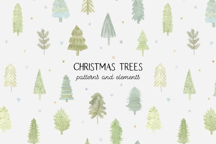 Watercolor Christmas Trees. Patterns and Cliparts