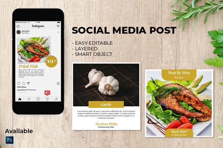 Instagram Post - Social Media Template for Food Blogger