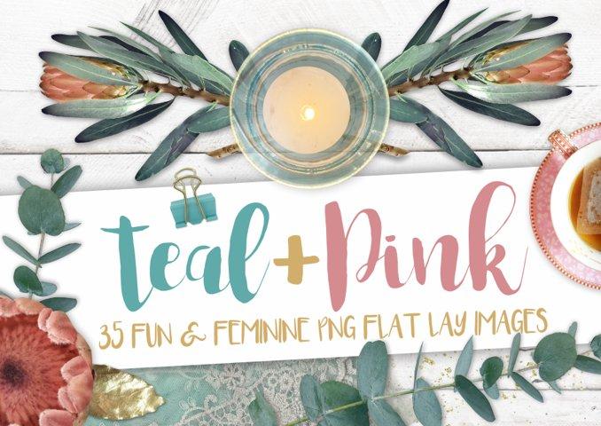 Teal & Pink PNG image set