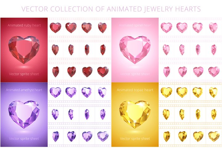 Vector set of animated jewelry hearts