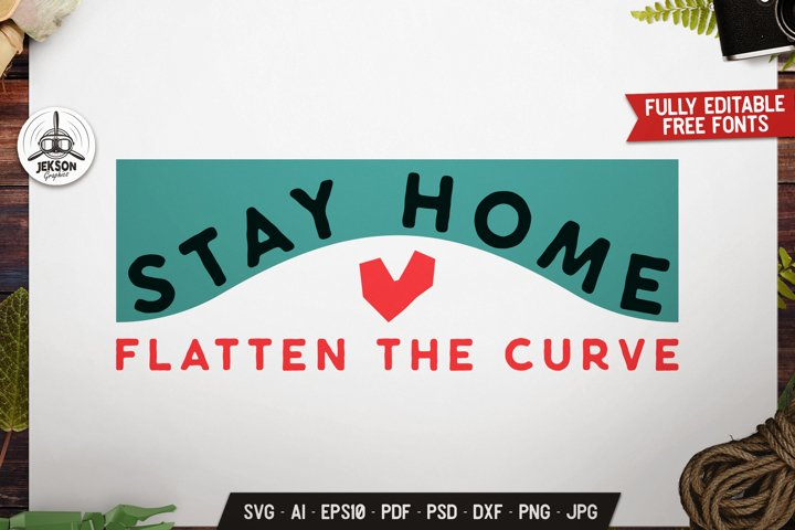 Stay Home Flatten The Curve Retro Badge, SVG Vector Emblem