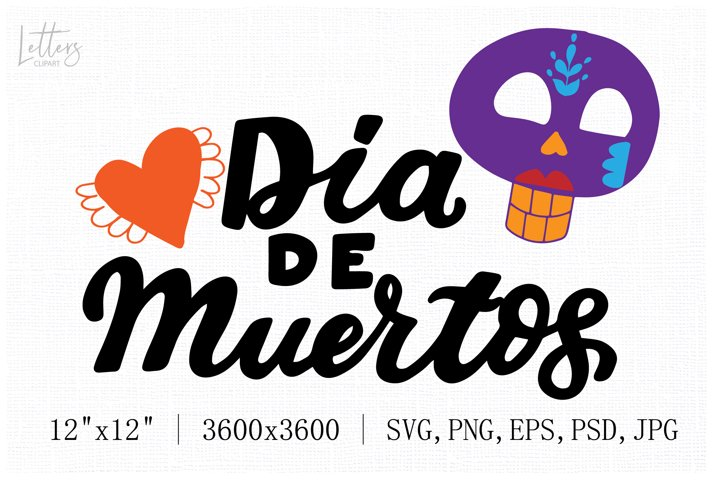 Dia de Muertos phrase with lady sugar skull svg