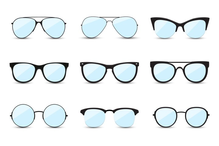 Big set of fashionable blue sunglasses.