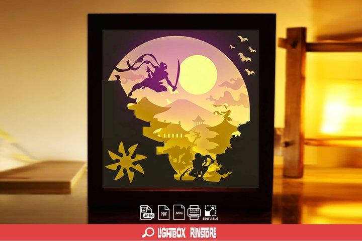 #101 Ninja, 3D Shadow box paper cut lightbox