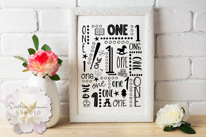 GIRLS FIRST BIRTHDAY COLLAGE - SVG, PNG, DXF, EPS and AI