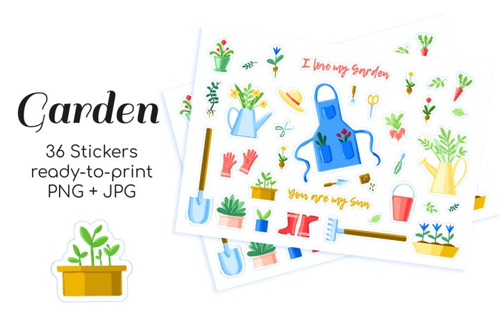 36 Garden and plants printable stickers for bullet journals