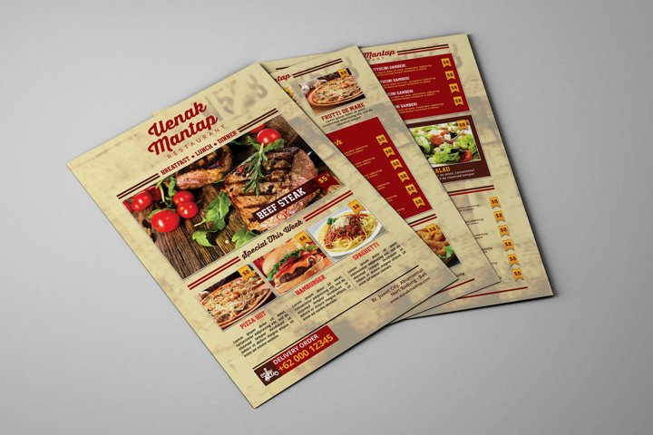 Restaurant Fod Menu Flyer PSD Template