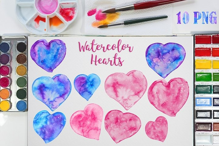 Watercolor Hearts Shapes hand-drawn artistic png