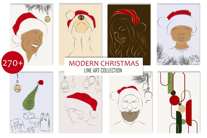 MODERN CHRISTMAS LINE ART BUNDLE, XMAS tree, red Santa hat
