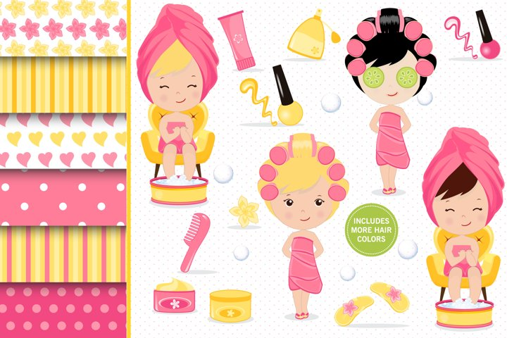 Spa day illustrations, Beauty girl graphics