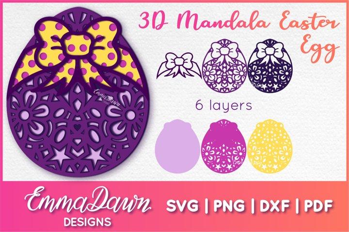 3D MANDALA EASTER EGG SVG 6 LAYERS, 3D Mandala SVG, 3D SVG
