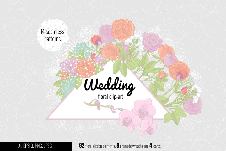 Wedding floral clip-art and patterns