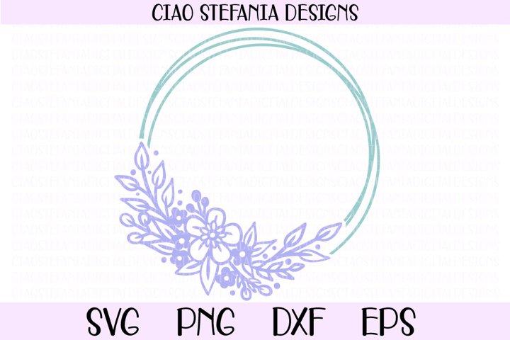 Flowers Geometric Circle Frame Wedding SVG Cut File