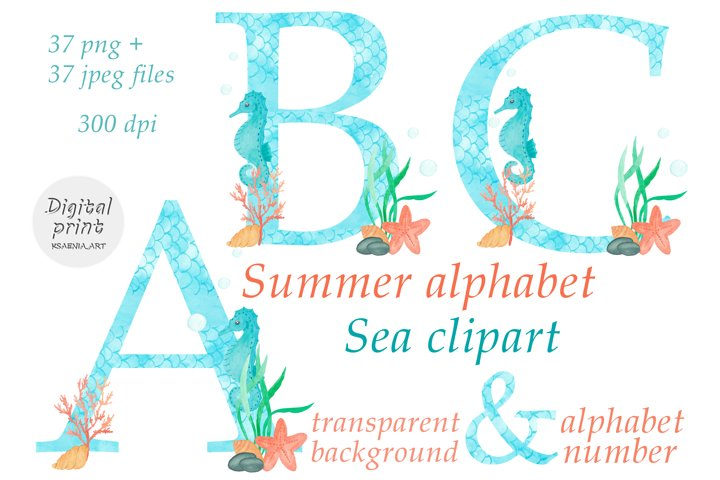 Sea Alphabet Clip Art. Underwater monogram. Letters, Numbers