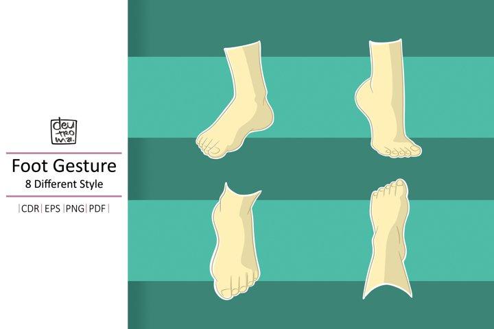 Cartoon Foot Gesture Vector - EPS CDR PDF PNG