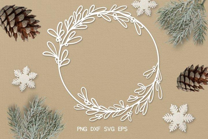 SVG / PDF / DXF Mistletoe Wreath Design, Papercutting Templa