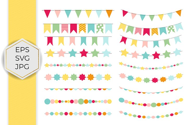 Color flags set. Party bunting.