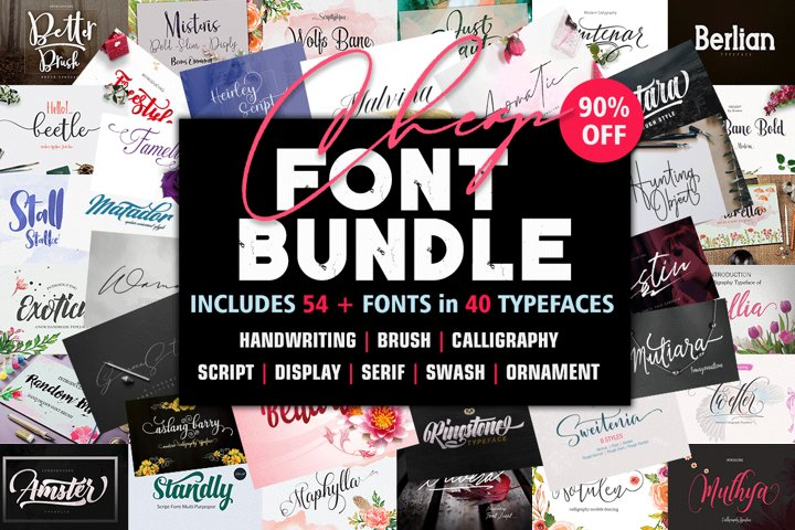 Font Bundle includes 54 fonts in 40 Typefaces