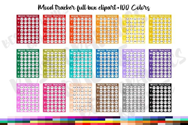 100 Mood tracker full box planner sticker clipart set