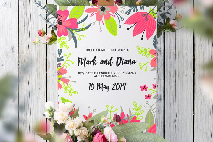 Pink florals Wedding set