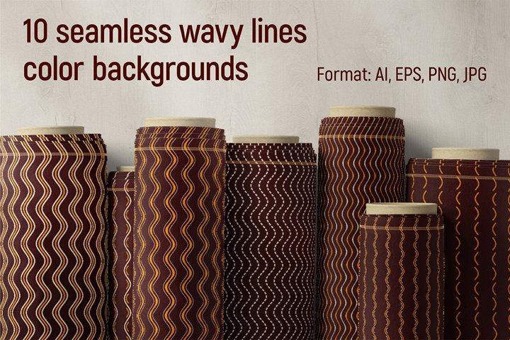 10 seamless wavy lines geometric vector patterns