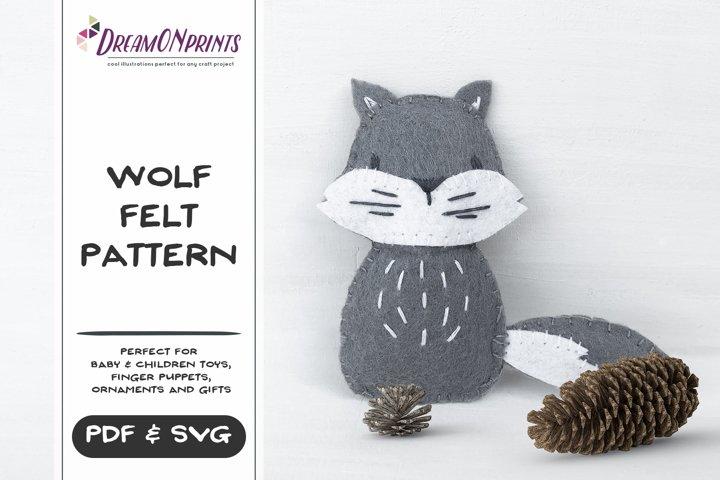 Wolf Sewing Pattern | Mini Felt Animals | PDF Pattern