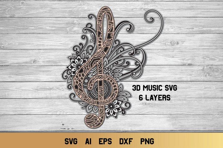 3d Layered Treble Clef | Multi Layer Music SVG Cut File