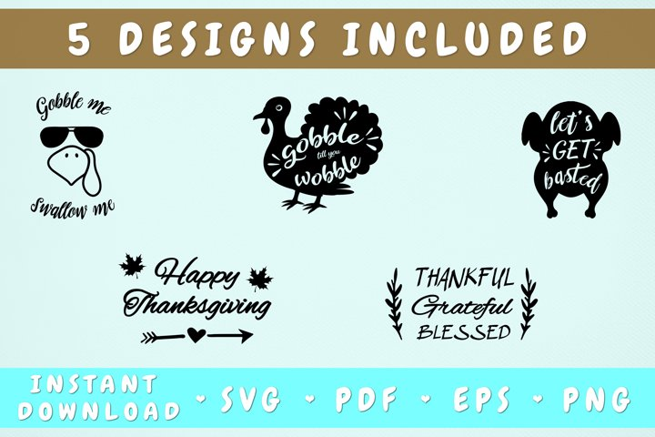 Thanksgiving SVG Bundle - 5 Designs