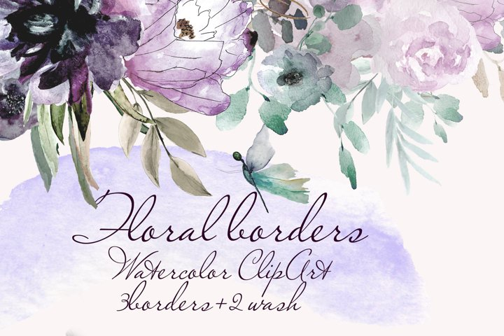 Watercolor Borders with flowers Clipart dragonfly