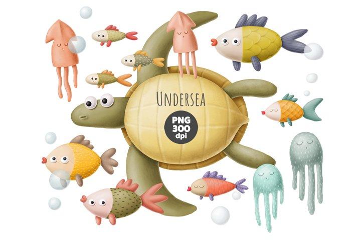 Under the sea clipart, sea creatures