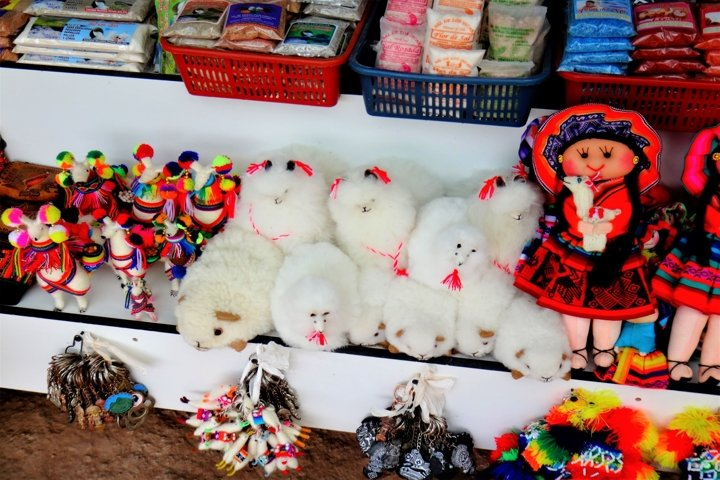 Colourful souvenirs, clothes, shoes and bags from Peru