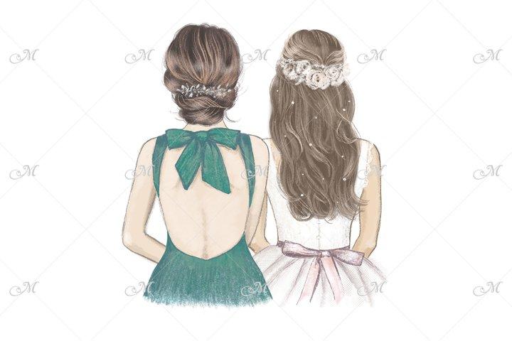 Bride & Bridesmaid in Emerald green. Hand drawn illustration
